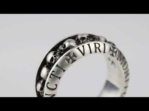 REBELIGION True Silver   Herren Silber Ring Totenkopf Gladiator mit Inschrift   Männerschmuck