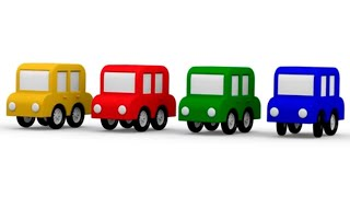 ¡Aprende colores con los 4 coches coloreados! Dibujos animados de coches