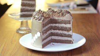 ช็อคโกแลตเลเยอร์เค้ก Chocolate Layer Cake ช็อคโกแลตชิฟฟ่อนเข้ากันได้ดีกับไอซิ่งบัตเตอร์ครีม EP.105