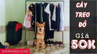 Tự làm cây treo đồ giá 50K _ DIY Tree Hanging Clothes with 2$_ Huỳnh Nhật Vlog