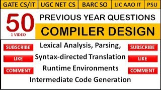 50 Previous Year Questions on Compiler Design in 1 Video - GATE CS/UGC NET CS/IT Officer