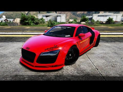 GTA 5 - Audi R8 V10 Liberty Walk Walk-around & Customization Trailer(VisualV,NaturalVision R & MVGA)