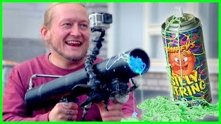 Silly String Cannon Challenge!!
