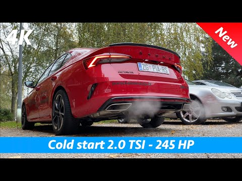 Škoda Octavia RS 2021 - 2.0 TSI 245 HP Cold start exhaust sound and pass by in 4K