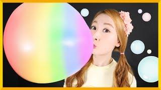 口香糖彩虹工廠!吹出世界上最大的泡泡吧   愛麗和故事 EllieAndStory