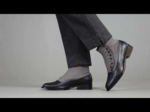 PRE-ORDER Bristol Women's Vintage Button Boots (Grey/Black)
