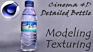 Cinema 4D detailed bottle modeling/texturing