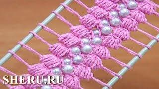 Crochet Hairpin Beaded Lace Tutorial 38 Лента на вилке с бусинками