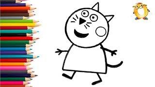 Раскраска для детей ГЕРОИ МУЛЬТИКА свинка Пеппа - киска Кэнди.
