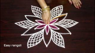 latest friday rangoli kolam designs|| easy rangoli designs with dots || simple muggulu designs