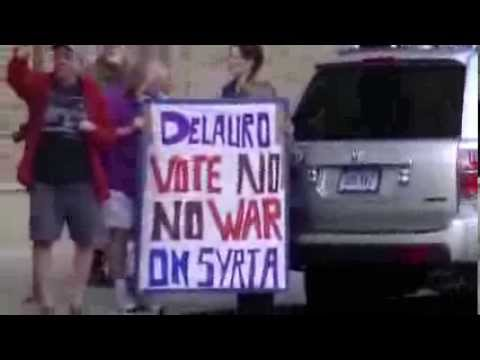 """In Front of DeLauro's Office - Congress! Vote """"NO U.S. Bombing of Syria"""""""
