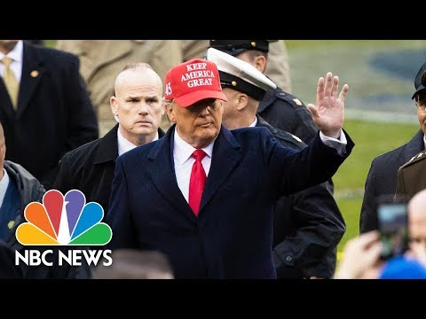 President Trump Meets With Army And Navy Football Teams Before Their Game | NBC News