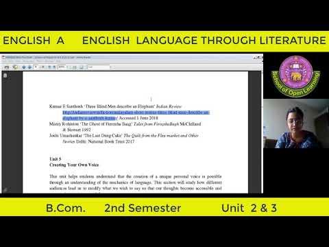 ENGLISH LANGUAGE THROUGH LITERATURE - UNIT 2 & 3 By - AYUSHI MAHESHWARI