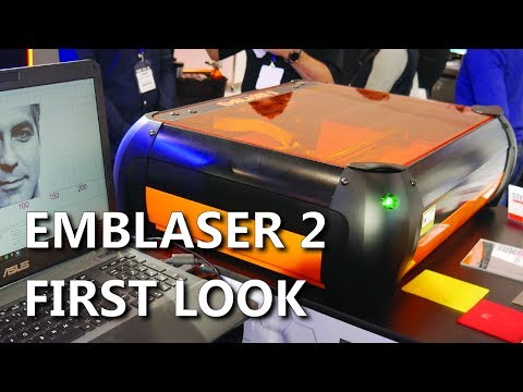 Checking out the Emblaser 2 Desktop Laser Cutter and Engraver! Austech 2017