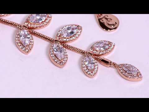 Rose Gold Diamante Leaf Drop Pendant