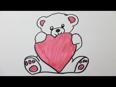 Comment dessiner une maman et sa fille comment dessiner - Dessin nounours avec coeur ...