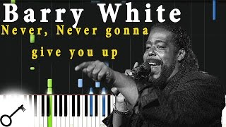 Barry White - Never, Never gonna give you up [Piano Tutorial] Synthesia | passkeypiano