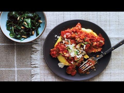 Parmesan Polenta and Spicy Sausage Sauce Recipe