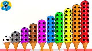 Learn Colors with Colorful Soccer Balls and with Ice Cream Scoops Учим Цвета Мячики Мороженое