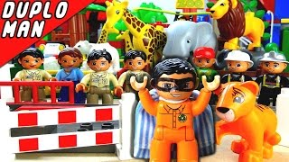 Duplo Man Movie Hero Saves Tiger From Zoo Duplo Man The Kids Hero In Lego Duplo Village toys 4 kids