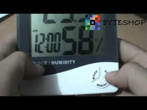 Higrometro Digital Termometro Medidor De Humedad Reloj Alarma Byteshop.com.mx