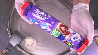 milka Ice Cream Rolls - Super Mario Edition   how to make Milka Chocolate fried Ice Cream Roll ASMR