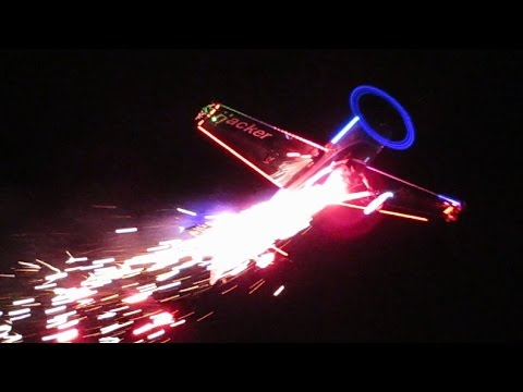RC PLANE WITH PYRO BY NIGHT / NIGHT OF FIRE / JetPower Fair 2014