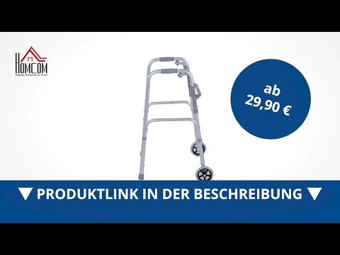 Homcom Gehwagen Gehgestell Gehbock Alu Gehhilfe mit 2 Rädern Faltbar - direkt kaufen!