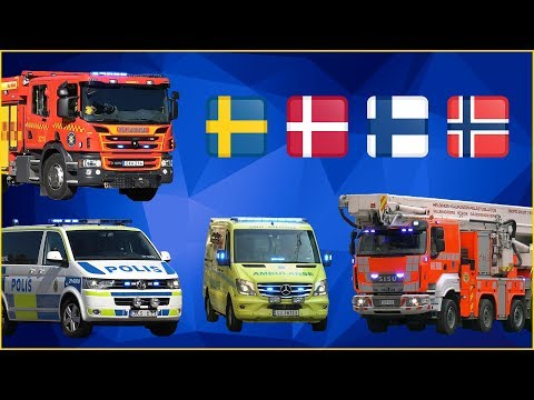 Fire Engines, Police Cars And Ambulances Responding - Northern Europe