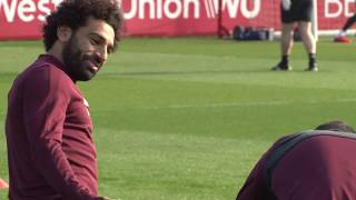 Mo Salah all smiles as Liverpool prepare for Porto