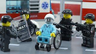 Lego Zombie Human Apocalypse Part 2 | Swat Zombie Defense in Hospital | Lego Stop Motion Animation