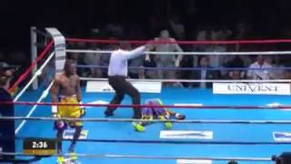 Brutal boxing knockout in 20 seconds hassan N'DAM for the belt WBA