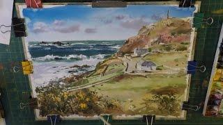 How To Paint Blue Sea, sky, Rocks and Waves