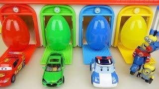 Surprise eggs and Cars Poli car toys play