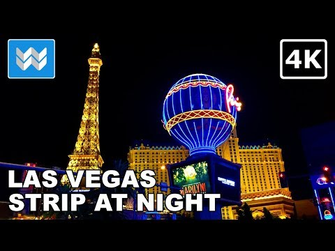 Las Vegas Strip at Night - 2 Hour Virtual Walking Tour 2018 Travel Guide 【4K】