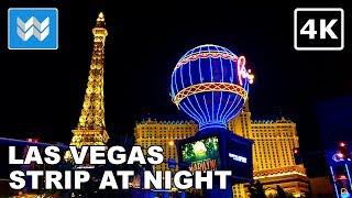 Las Vegas Strip at Night - 2 Hour Virtual Walking Tour 2018 Travel Guide 【4K】