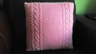 How To Knit A Cable And Moss Stitch Pillow, Lilu's Handmade Corner Video # 63