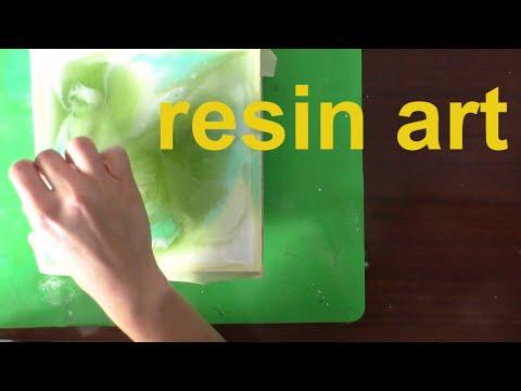 Абстрактная картина на фанере с помощью цветной смолы resin art zywica