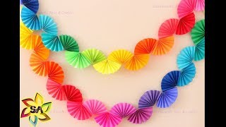 Diwali Craft - DIY Paper Rainbow Fan Garland for Party Decor | Paper Craft decoration idea