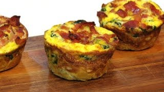 bacon and egg pie in muffin tray