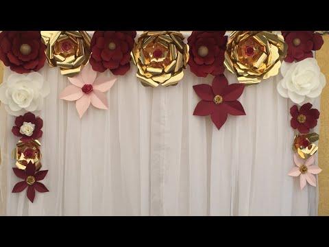Como hacer  una cortina decorada de flores 🌹🌹🌹de papel fácil y rápido DIY para fiestas 🎉