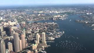 United Airlines 737-900ER -split scimitar - Takeoff from Boston Logan - View of Downtown Boston