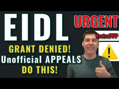 URGENT EIDL GRANT UPDATE- Grant DENIED? SBA Manager Overturns Declined Targeted Advance - $10,000