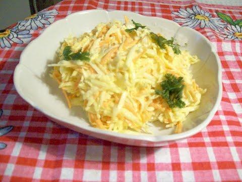 Правильный витаминный салат из черной редьки с морковью.