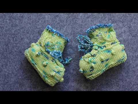 """Baby-Chucks, Babyschuhe stricken, ganz einfach, im Ajour-Muster """"Limette"""""""