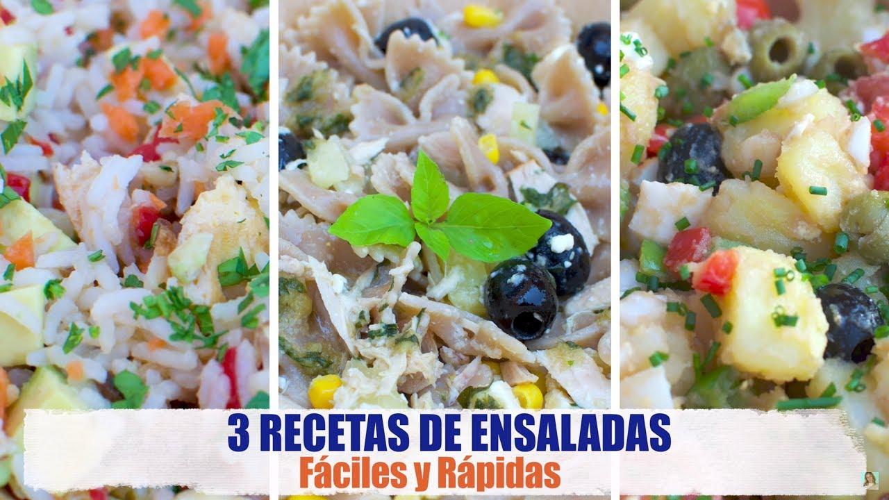 3 Recetas de Ensaladas Fáciles y Rápidas | Ensalada de Arroz, Ensalada Campera y Ensalada de Pasta