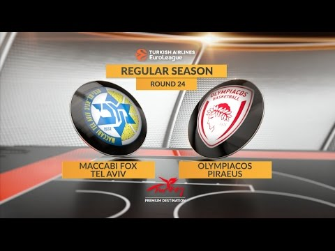 EuroLeague Highlights RS Round 24: Maccabi FOX Tel Aviv 71-82 Olympiacos Piraeus
