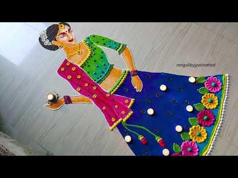 dandiya girl rangoli design for navaratri by jyothi rathod