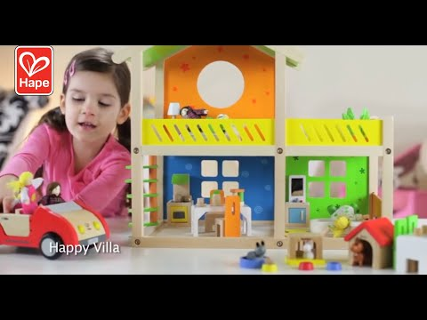 Hape Happy Villa Kids Wooden Doll House Set | 2 Story Dolls Villa with Furniture and Accessories