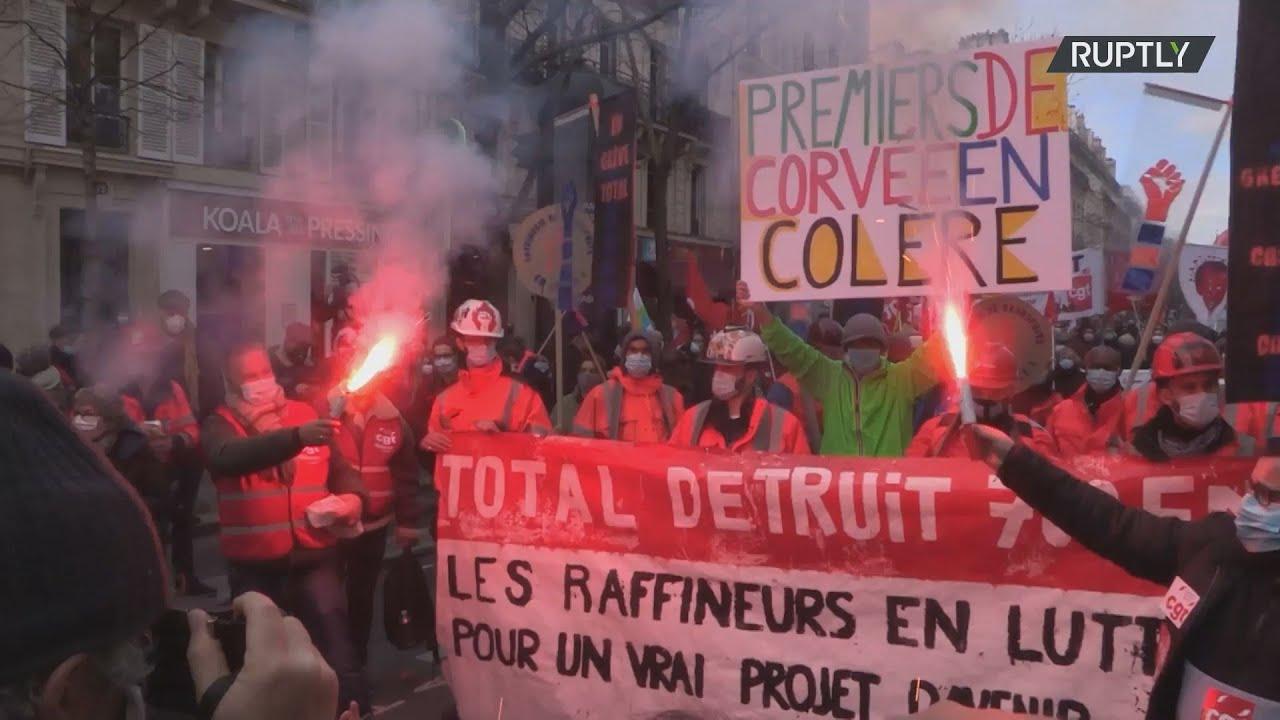 Γαλλία: Τα συνδικάτα διαδηλώνουν στους δρόμους του Παρισιού εν μέσω εθνικής απεργίας